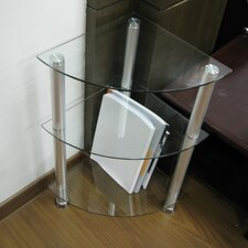 Corner Glass and Aluminum Bookcase or Utility Stand