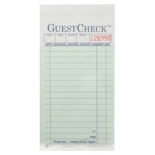 """3.4"""" W Two-Part Carbonless Guest Check Pad"""