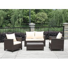 4 Piece Deep Seating Group with Beige Cushions