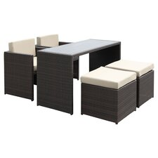 5 Piece Dining Seating Group with Beige Cushions