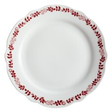 """Yuletide Garland 10.5"""" Printed Porcelain Stoneware Fluted Dinner Plate (Set of 4)"""