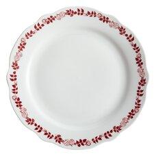 """Yuletide Garland 12"""" Printed Porcelain Stoneware Fluted Dinner Plate (Set of 4)"""