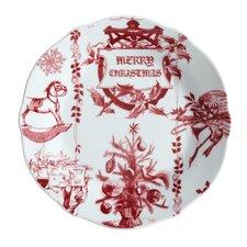 """Yuletide Garland 9.5"""" Printed Porcelain Stoneware Fluted Salad Plate (Set of 4)"""
