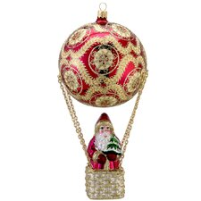 David Strand Glass High Rise Pattern Santa Ornament