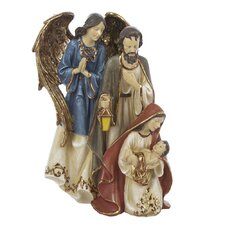 Resin Holy Family with Angel Table Piece