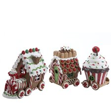 3 Piece Claydough 3D LED Gingerbread Train Figurine