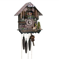 "12"" Chalet Cuckoo Clock with Wood Chopper and Children"
