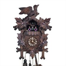 "13"" Cuckoo Clock with Hand-Painted Flowers and Dancing Figurines"