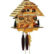 "10"" Natural Wood Chalet Cuckoo Clock with Woodchopper"