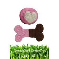 <strong>Hip Doggie</strong> Organic Cotton Crochet Bone and Ball Dog Toy Set in Pink