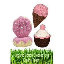 <strong>Hip Doggie</strong> Organic Cotton Crochet Dessert Dog Toy Set in Pink