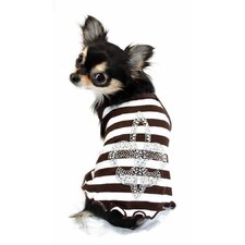 <strong>Hip Doggie</strong> Fleur de Lis Dog Tank in Brown