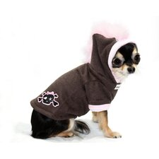Big Dog Skull Mohawk Dog Hoodie in Pink