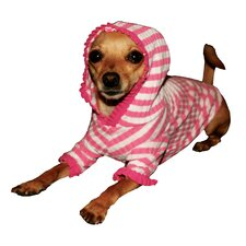 <strong>Hip Doggie</strong> Stripe Cherry Dog Hoodie in Pink