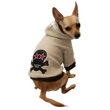Super Soft Skull Dog Hoodie in Tan