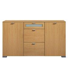 Sideboard Gallery mit 2 Holztüren, 1 Floatglasschubkasten und 2 Holzschubkästen
