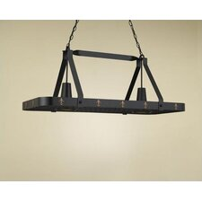 Fleur de Lis Large Rectangular Pot Rack with 2 Lights