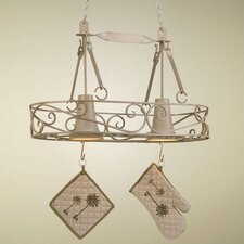 Authentic Iron Oval Hanging Pot Rack with 2 Lights