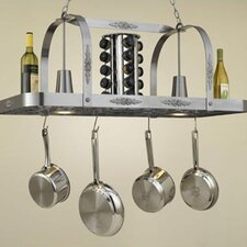 Monterey Rectangular Hanging Pot Rack with 2 Lights