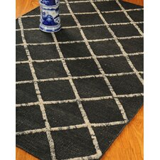 Centre Black Geometric Indoor Rug