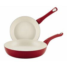 New Traditions 2-Piece Non-Stick Scalloped Skillet with Lid