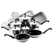 <strong>Farberware</strong> Classic Stainless Steel 17-Piece Cookware Set