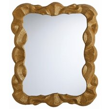 "Baroque 34"" H x 28"" W Leaf Plain Mirror"
