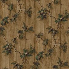 Lodge Décor Pinecone Trail Floral Botanical Wallpaper