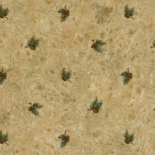 Lodge Décor Pinecone Toss Floral Botanical Wallpaper