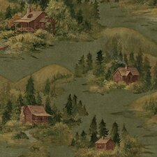 Lodge Décor Cabin Scenic Wallpaper