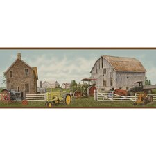 Lodge Décor Tractor and Barn Border Wallpaper
