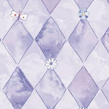 Whimsical Children's Vol. 1 Groovy Flower Argyle Wallpaper
