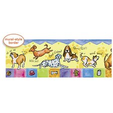 Panoramic Bow Wow Mural Style Border in Multi