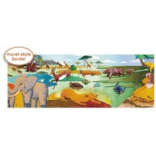 Panoramic Safari Mural Style Border in Multi