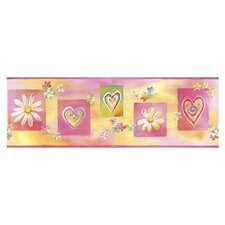 Whimisical Wall Borders Hearts and Flowers Wallpaper Border