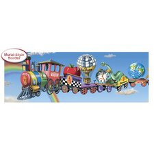Panoramic Alphabet Train Mural Style Border in Multi