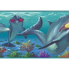 <strong>4 Walls</strong> Whimsical Children's Vol. 1 Dolphins Wallpaper Border