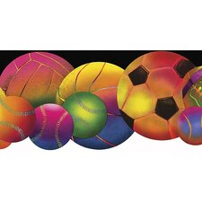 Whimsical Children's Vol. 1 Neon Sports Balls Die-Cut Wallpaper Border