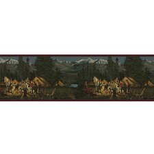 Lodge Décor Campfire Border Wallpaper