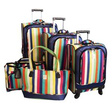 Multi Stripes 360 Quattro 5 Piece Luggage Set