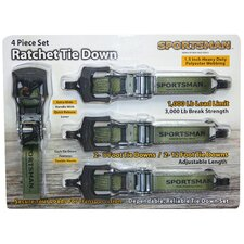 Sportsman Series 4 Piece Ratchet Tie Down Set