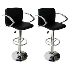 "23.5"" Adjustable Swivel Bar Stool with Cushion (Set of 2)"