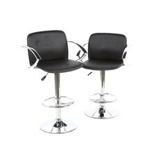 Pad Bar Stool with Back in Black (Set of 2)