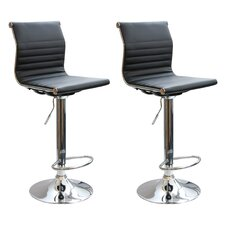 "AmeriHome 24"" Adjustable Swivel Bar Stool with Cushion (Set of 2)"
