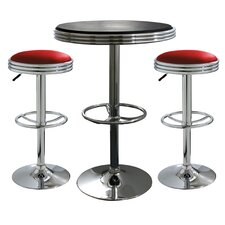 AmeriHome 3 Piece Adjustable Height Pub Table Set