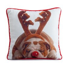 Holiday Bulldog Pillow