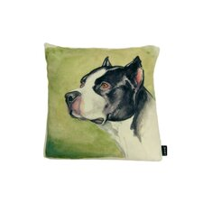 Lava Boxer Watercolor Feather Filled Pillow
