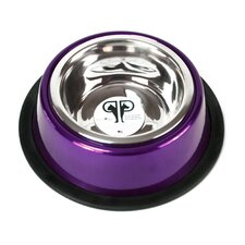 Two Piece Dog Bowl with Skid Stop in Purple