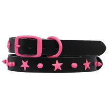 <strong>Platinum Pets</strong> Genuine Leather Cat and Puppy Collar with Spikes and Stars