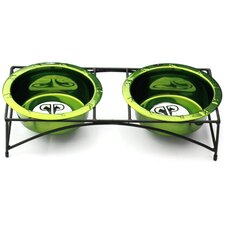 Modern Double Diner Stand with Two Rimmed Dog Bowl in Corona Lime
